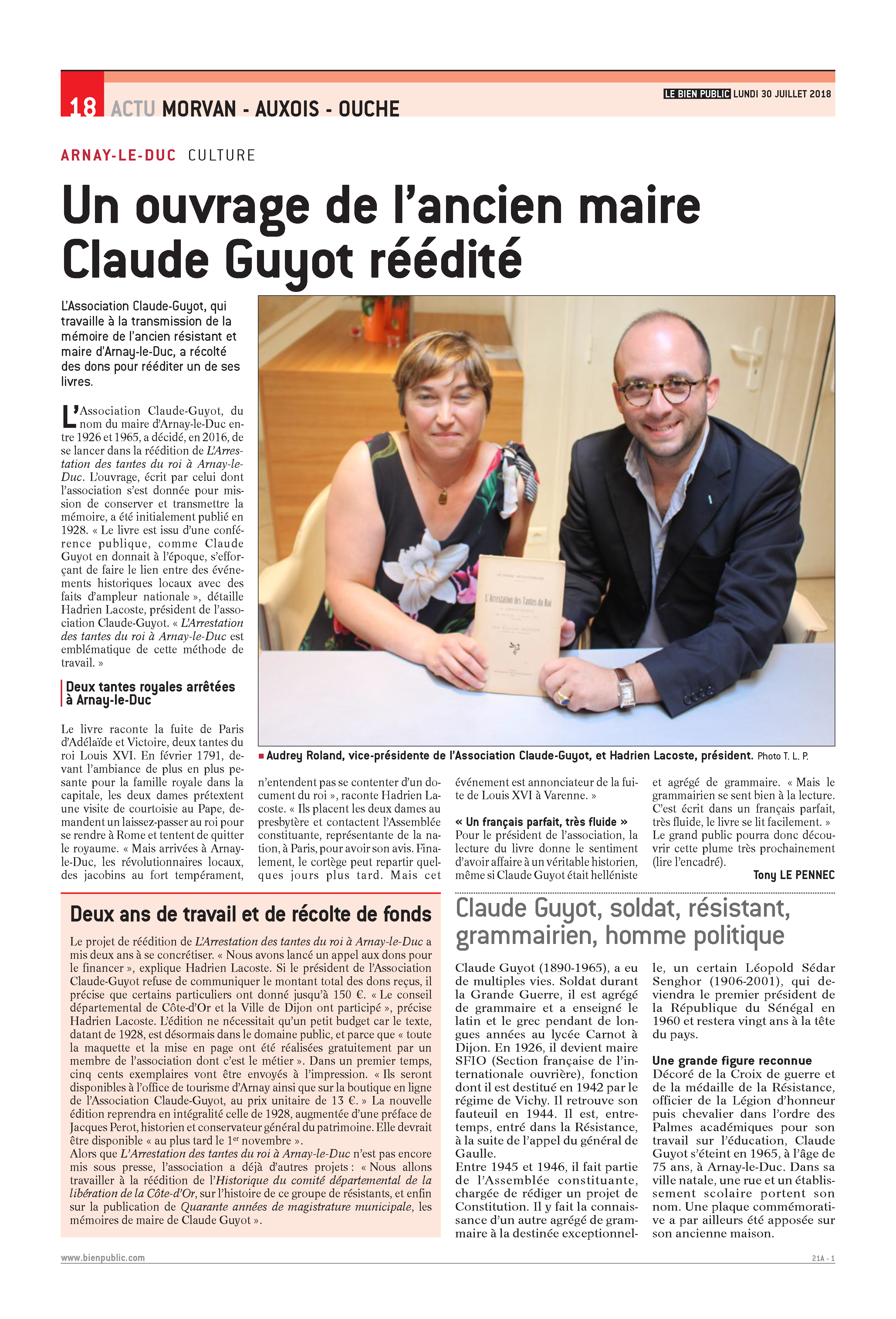 Article Claude Guyot L'Arrestation des Tantes du roi 30 juillet 2018